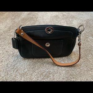 Black Coach shoulder bag bright blue interior